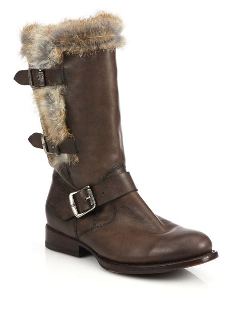 brown moto boots frye jamie lux moto rabbit fur trimmed leather mid calf