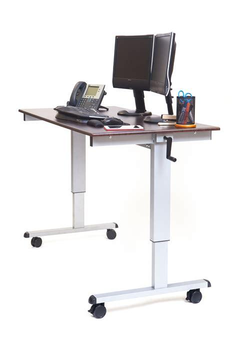 luxor 60 hand crank adjustable stand up desk notsitting com