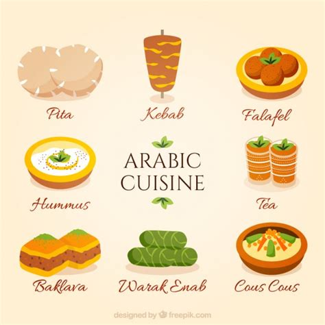 cuisine arabe cuisine collection vector premium