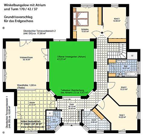 Bungalow Mit Atrium by Atrium 7 2 Winkelbungalow Turm 170 42 37 Einfamilienhaus