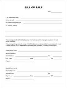 Template For A Bill Of Sale by Blank Bill Of Sale Template