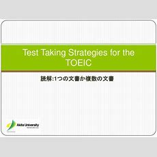 Test Taking Strategies For The Toeic  Reading Comprehension