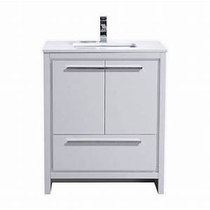 kubebath dolce 30 high gloss white modern bathroom vanity With how high should a bathroom vanity be
