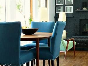 Castraveight new blue tweed dining room chairs update the for Blue dining room furniture