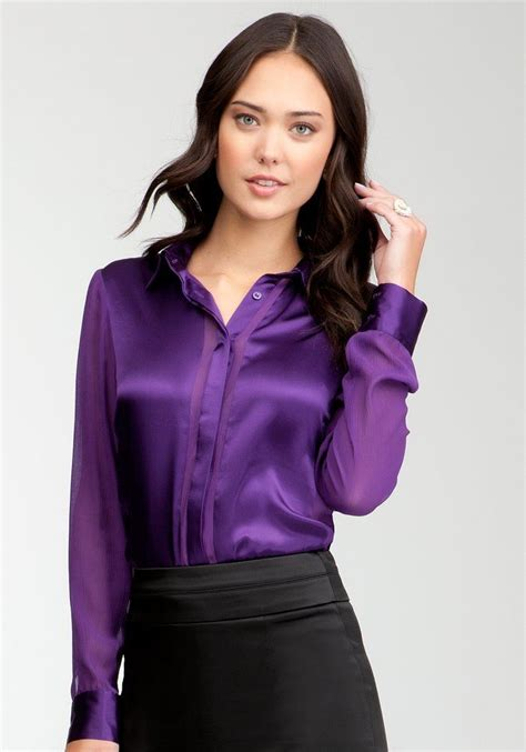purple blouse womens with even more purple satin button up