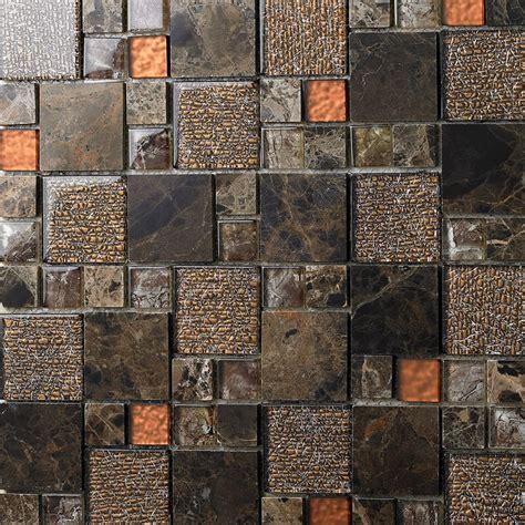 stone  glass mosaic sheets square tiles emperador dark