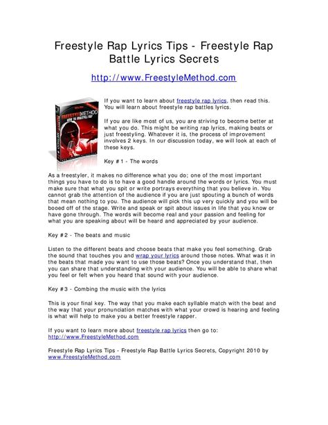 Calamo Freestyle Rap Lyrics Tips Freestyle Rap Battle