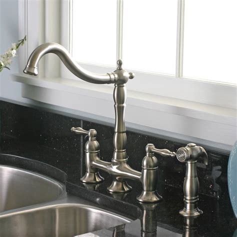 kitchen faucets overstock charelstown 2 handle brushed nickel lead free bridge style