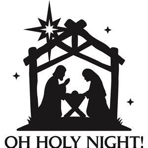 nativity clipart black  white