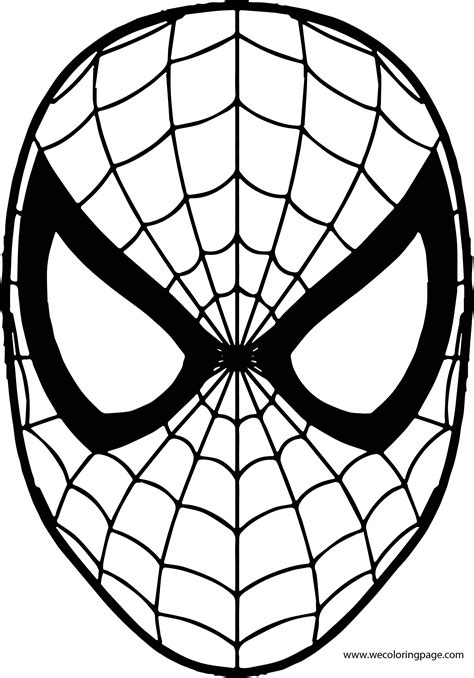 spiderman mask coloring page wecoloringpagecom