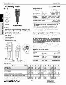 Coalescing Filter M18 Specifications