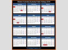 Australian Public Holidays Calendar 2018 [FREE
