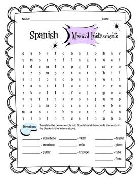 spanish musical instruments worksheet packet by sunny side
