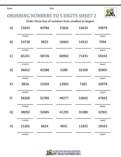 4th grade place value worksheets