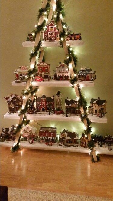 diy snow village display ladder tis  season