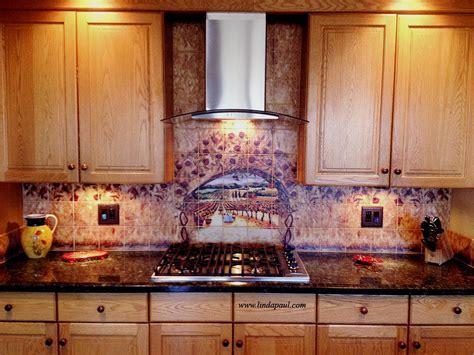 Tile Art   Italian tiles of vineyard, roses backsplash tiles