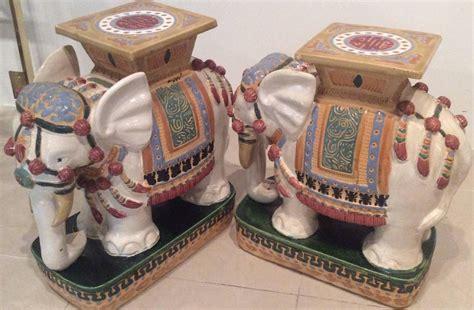 vintage ceramic table ls elephant garden stands stools vintage pair side end tables