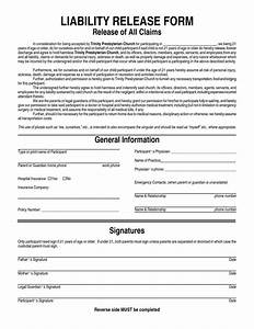 General liability waiver form general liability release for Release from liability form template