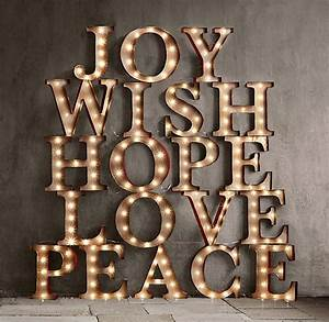 vintage illuminated marquee words joy project church With peace marquee letters