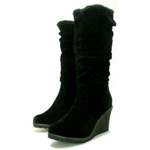 womens boots black womens black suede fur style knee wedge heel boots from buy uk