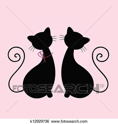 cute cats couple sitting  silhouette isolated