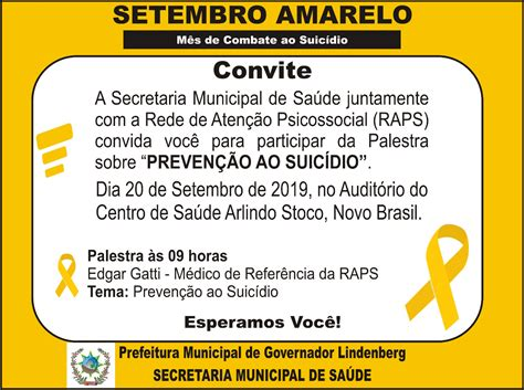 See more of suicidio † on facebook. Setembro Amarelo Mês de Combate ao Suicídio. - PMGL   Prefeitura Municipal de Governador Lindenberg