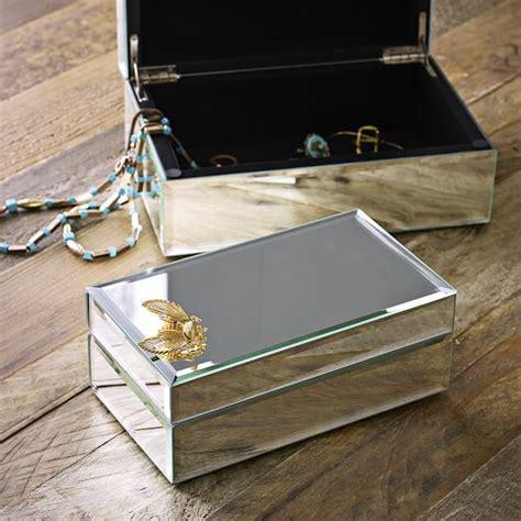mirrored glass jewelry box mirrored jewelry box west elm 7534