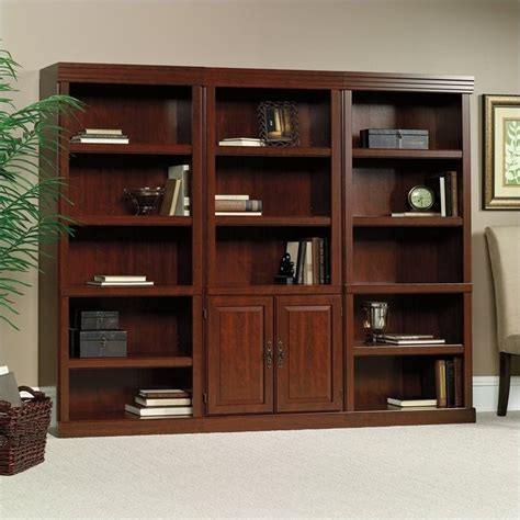 sauder heritage hill bookcase 3 shelves wall bookcase with cabinet in cherry 102792