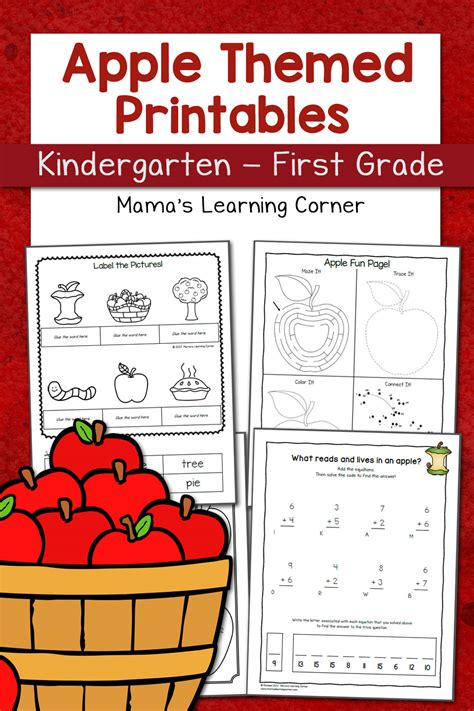 Apple Worksheets For Kindergartenfirst Grade  Mamas Learning Corner