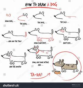 Drawing Tutorial How Draw Dog Step Stock Vector 209146348