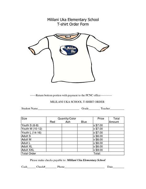 school  shirt order form template order form template