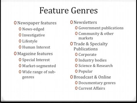 feature stories   genres