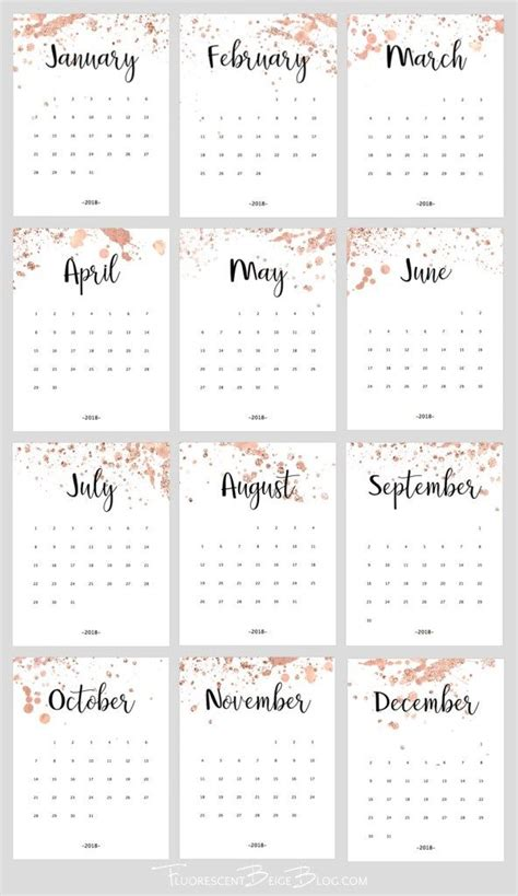 printable  rose gold splatter calendar