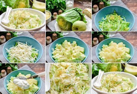 Ķīnas kāpostu salāti ar ananāsiem, seleriju un āboliem ...