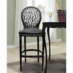 Chaise De Bar Bois : chaise de bar de style louis xvi simili cuir noir dossier z bre et bois noir ~ Teatrodelosmanantiales.com Idées de Décoration