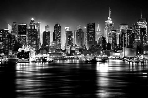 skyline  york view black  white hd wallpaper