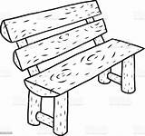 Bench Cartoon Wooden Illustration Sketch Vector Hand Background Drawn Isolated Ancient sketch template
