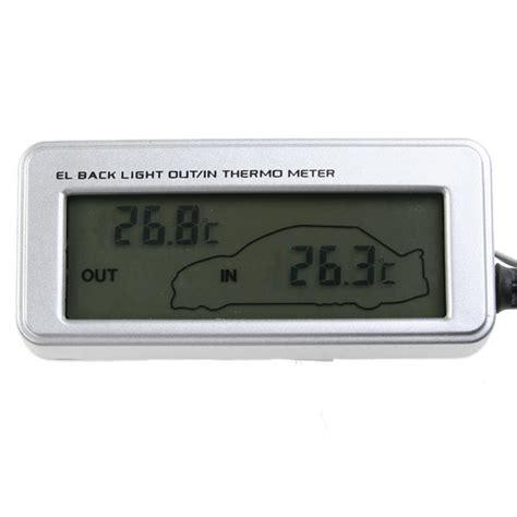 thermometre lcd interieur exterieur pour voiture 12v 24v digital bleu
