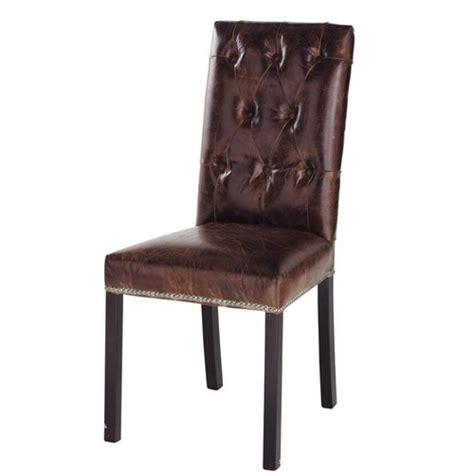 chaise capitonn 233 e en cuir et bois marron elizabeth