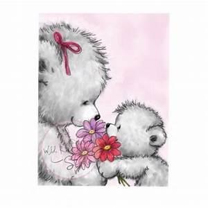 tampon dessin ours maman bebe fleur naissance et bebe With affiche chambre bébé avec bouquet de fleurs de noel