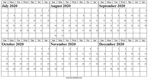 july  december  calendar printable blank calendar