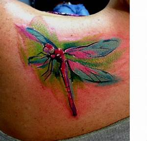 Watercolor Dragonfly Tattoo On Left Back Shoulder ...