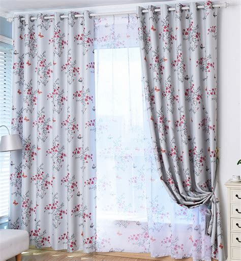 gray floral curtains decorative beautiful floral curtains gray polyester fabric