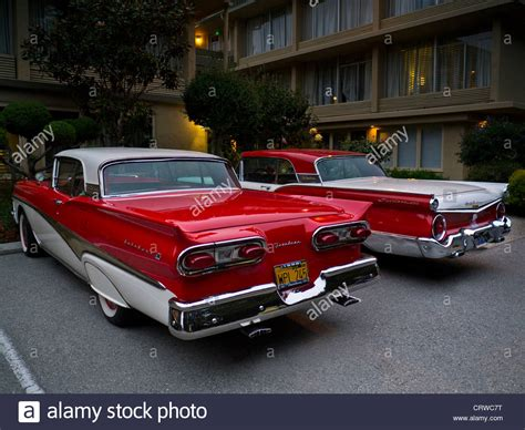 Two 1950's Two Tone Ford Fairlane Skyliner American