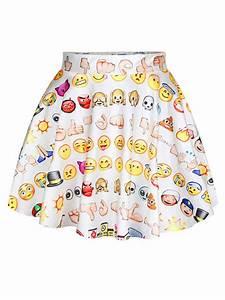 Women Fashion Wild Cute Emoji Printed High-Waisted White Mini Skirt - WSDear.com
