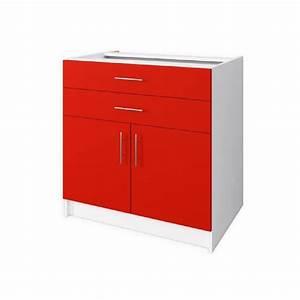 Meuble Bas Porte : start meuble bas de cuisine 2 porte 80 cm rouge mat ~ Edinachiropracticcenter.com Idées de Décoration
