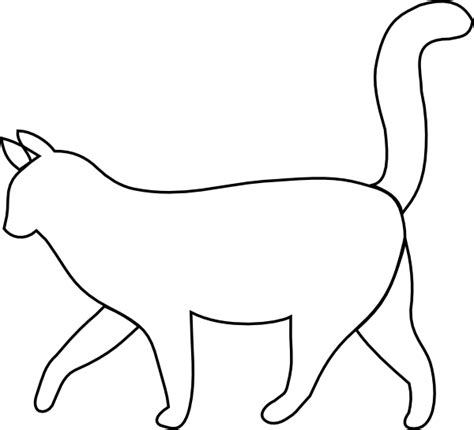 white cat outline clip art  clkercom vector clip art