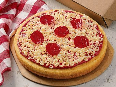 pizza cake  white chocolate gratings  cheese  fruit roll  pepperoni