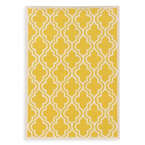yellow bathroom rugs linon home silhouette collection quatrefoil rug in yellow 1207