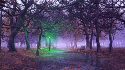 3d Wallpapers Trees by 3d Bench Cobblestone Trees Light Fall Leaves